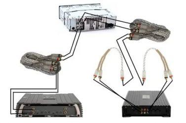 Как подключить два усилителя к одной магнитоле?